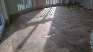 After 1st sanding on parquet