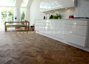 Reclaimed Oak parquet in the kitchen