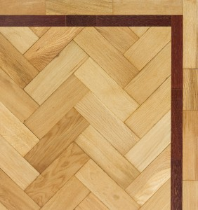 Ekki inset on herringbone pattern