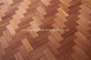 Sapele in a herringbone pattern